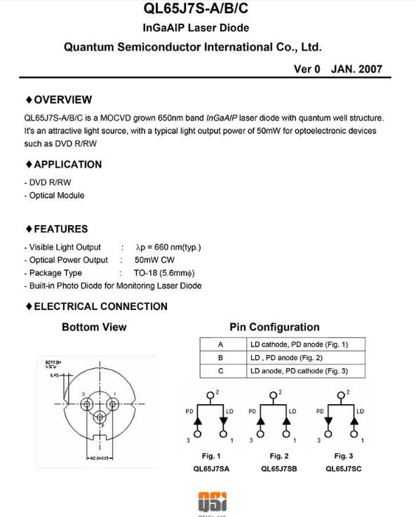 QSI 650nm 50mw Laser Diode